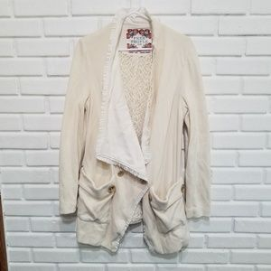 Free People  Lace Trim Coat L